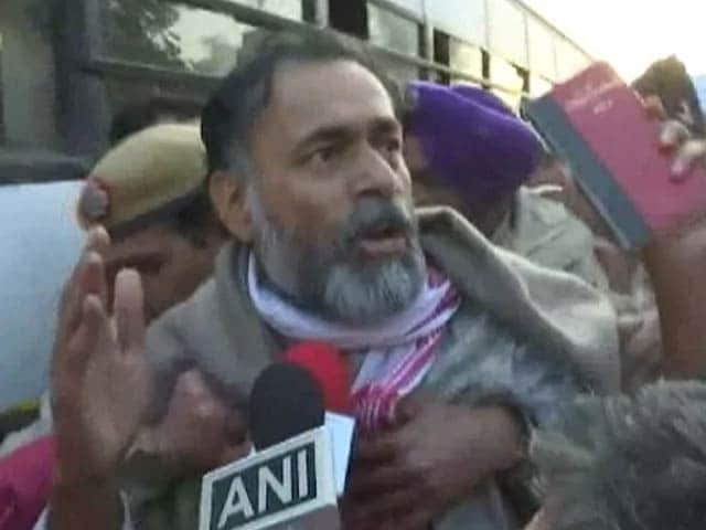 "Video : Yogendra Yadav ""Dragged, Pushed Into Bus"" During Anti-CAA Protest"