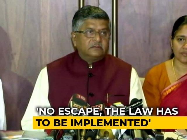 "Video : ""No Escape"" From Citizenship Law: Ravi Shankar Prasad's Message To States"