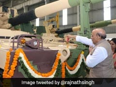 With A <i>Tilak</i> And Swastika Symbol, Rajnath Singh Flags Off K-9 Vajra Gun