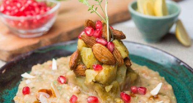 Almond, Sweet Potato and Pomegranate Chaat