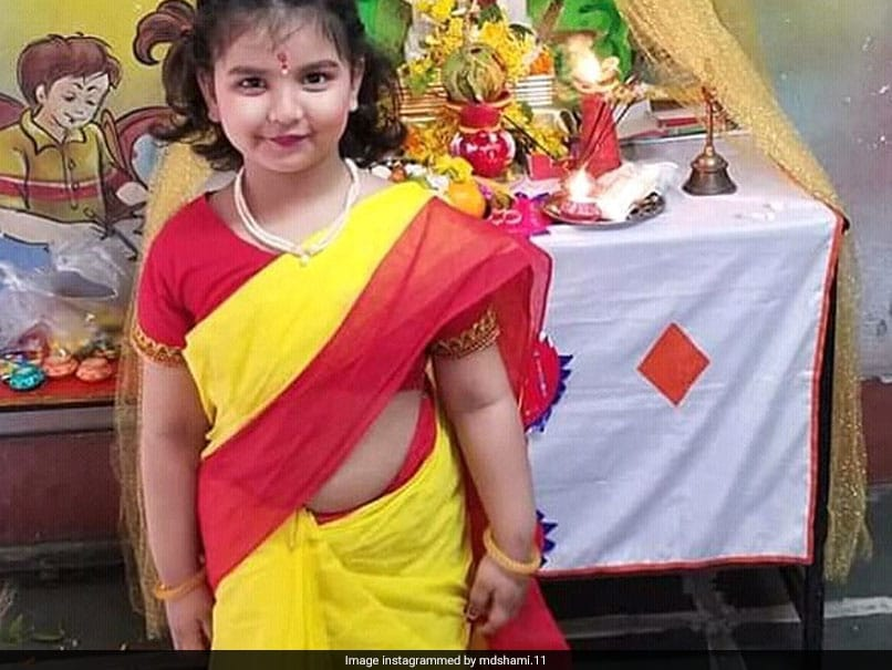 Mohammed Shami Showers Love On Daughters Adorable Yellow Saree Picture