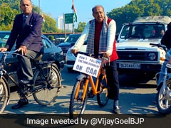 Vijay Goel Cycles To Parliament With Placard On Citizenship Amendment Act