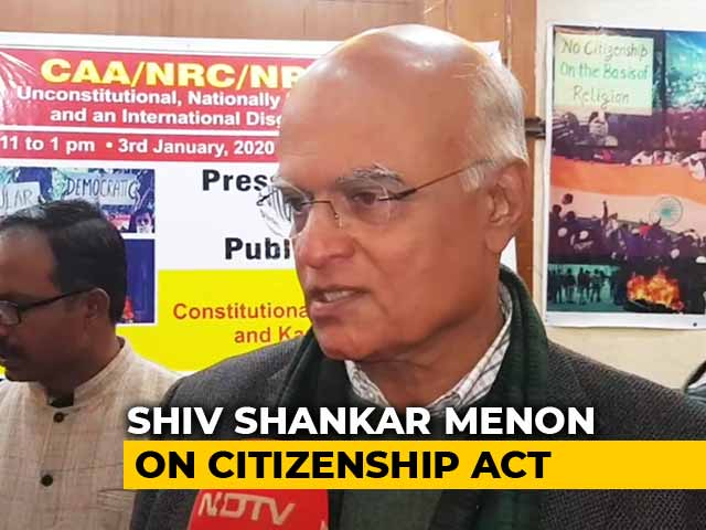Video : Citizenship Law Made Diplomacy Difficult, Says Ex-NSA Shiv Shankar Menon