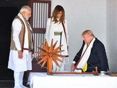 The Trumps Spin Mahatma Gandhi's <i>Charkha</i> At Sabarmati Ashram In Ahmedabad