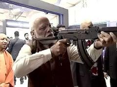 Watch PM Narendra Modi Shoot Assault Rifle At DefExpo 2020