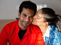 Neha Dhupia Begins Angad Bedi's Birthday Celebrations With A Kiss. See Pic