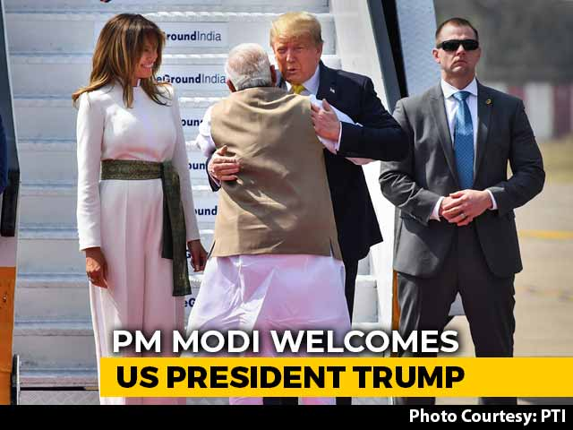 "Video : ""Namaste Trump"": PM Modi Welcomes US President With A Hug"