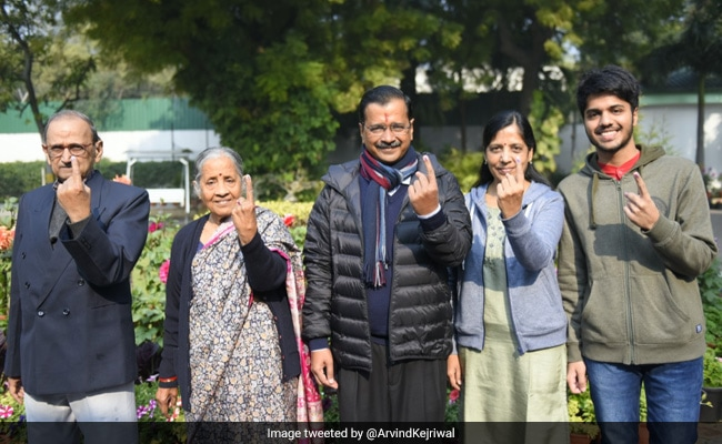Image result for Arvind kejriwal and family voted