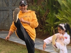 The One With Akshay Kumar And 'Karate Girl' Nitara. Pic Courtesy Twinkle Khanna