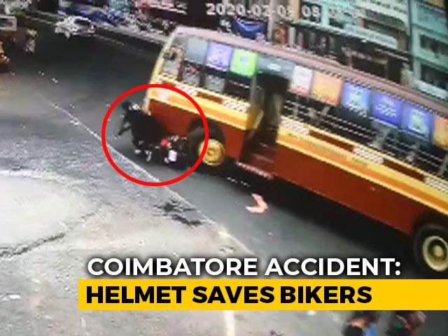 Video : Video: Miraculous Escape For Bikers After Bus Runs Over Them In Tamil Nadu