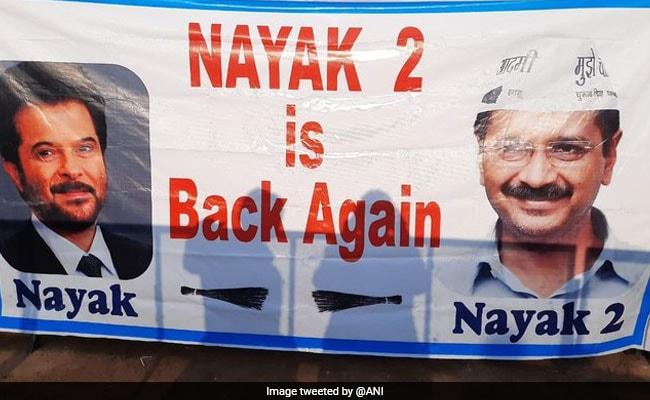 """Nayak 2 Is Back Again"": Poster At Arvind Kejriwal's Swearing-In Venue"