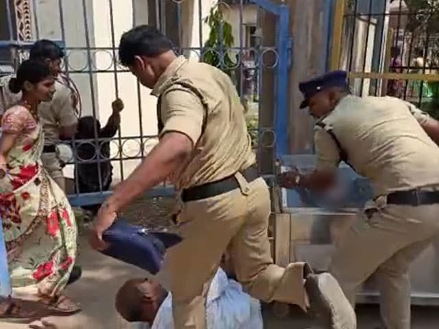 Video : Telangana Cop Caught On Video Kicking Grieving Father Of Teen Who Died