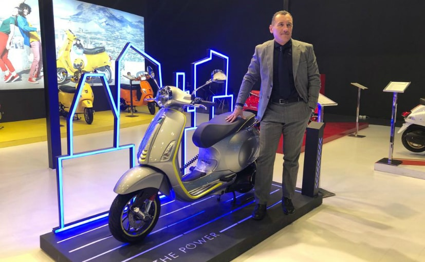 Piaggio India CEO & MD Diego Graffi with the Vespa Elettrica at the Auto Expo 2020
