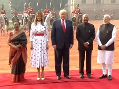 US President Donald Trump Given Ceremonial Welcome At Rashtrapati Bhavan