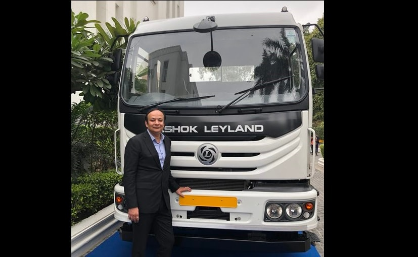 Anuj Kathuria, COO, Ashok Leyland with the BS6 vehicle built on the new modular platform
