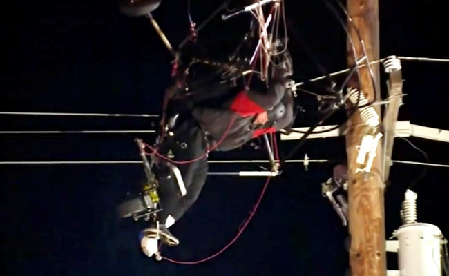 Video: Paraglider Stuck For Hours After Crashing Into Power Lines