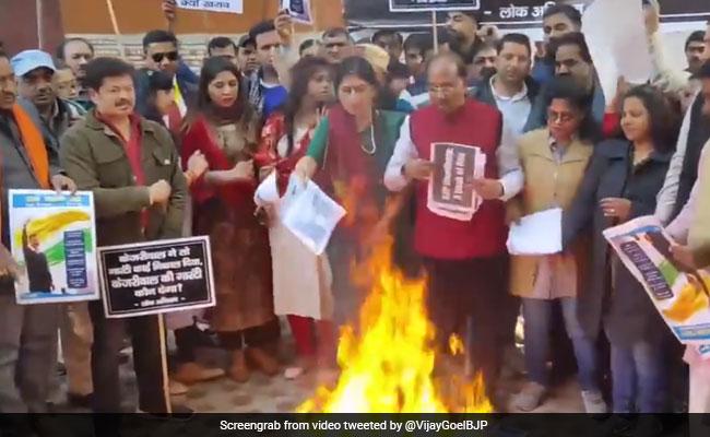 'Bundle Of Lies': BJP Leaders Burn Copies Of AAP Manifesto In Delhi
