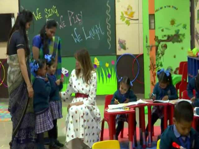 "Video : Melania Trump Sits Down With Delhi Schoolchildren At ""Happiness Class"""