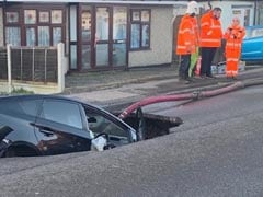 Motorist's Miracle Escape After Driving Car Into A Sinkhole