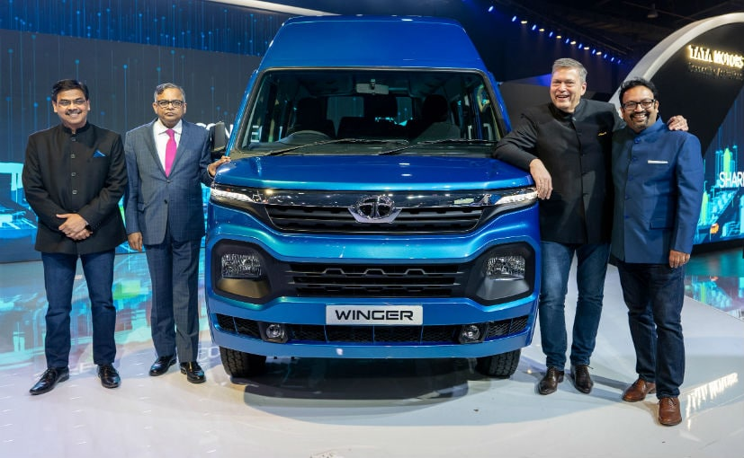 Tata Motors' senior leadership team with the new Winger BS6 at the 2020 Auto Expo