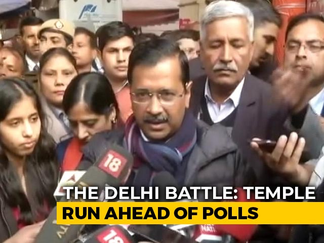 Video : Arvind Kejriwal At Hanuman Temple For Divine Aid As Delhi Readies To Vote