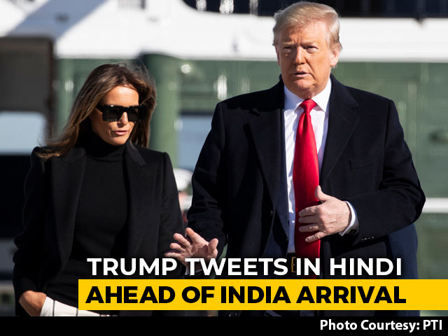 Video : Donald Trump Tweets In Hindi En Route To India