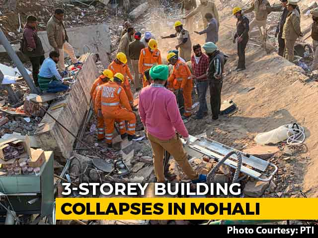 Video : 1 Dead As Building Hit By Excavator Collapses In Mohali, 3 Rescued So Far