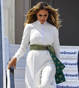 The White Outfit Melania Trump Wore In Ahmedabad Had This Desi Touch