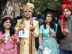 Groom, His Family Dressed Up For Wedding, Stand In Queue To Vote In Delhi