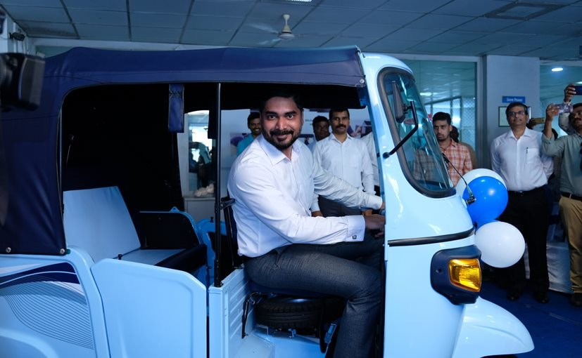 SajuNair EVP and Head of Commercial Vehicle Business PVPL with the new Piaggio Ape E-City