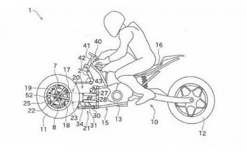 Kawasaki patent drawings reveal three-wheeled motorcycle design