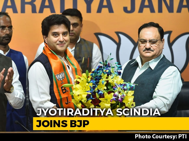 "Video : Jyotiraditya Scindia, Once Close Gandhi Aide, Joins BJP In ""Fresh Start"""