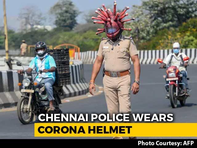 "Video : Chennai Cops Use ""Coronavirus Helmet"" To Raise Awareness On COVID-19"