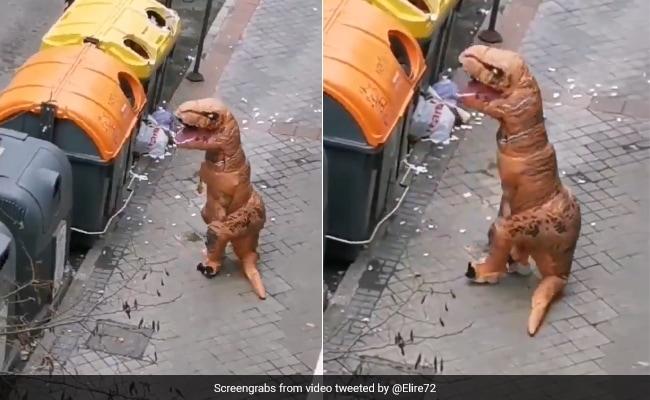 Watch: Man Under Coronavirus Lockdown Leaves Home Dressed As Dinosaur