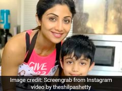 Shilpa Shetty And Son Viaan Raj Kundra Bake Heart-Shaped Cake At Home
