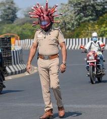 Chennai Cops Use 'Coronavirus Helmet' To Raise Awareness On COVID-19