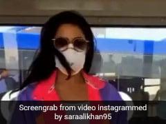 सारा अली खान एयरपोर्ट पर मुंह पर मास्क लगाए यूं छलांगें लगाती आईं नजर, Video हुआ वायरल