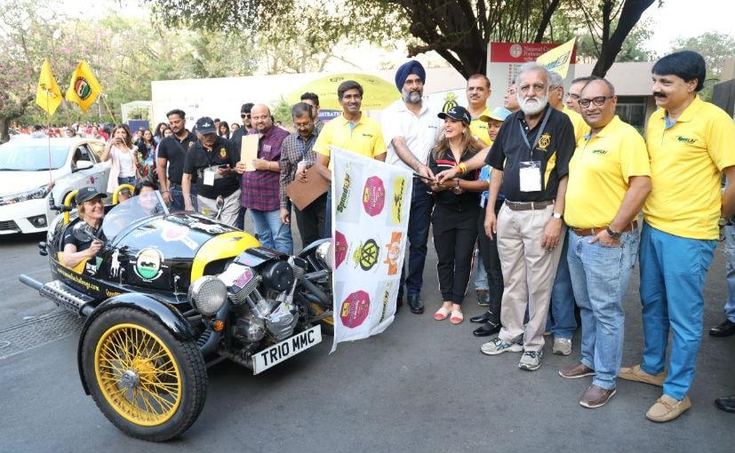 Actor Perizaad Zorabian, Nitin Dossa, Exec.Chairperson, WIAA, Hari Singh, Head, JK Motorsport at flag-off
