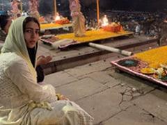 Sara Ali Khan Takes A Boat Ride Along Bustling Varanasi <I>Ghat</I>s, Attends Ganga <I>Aarti</i>