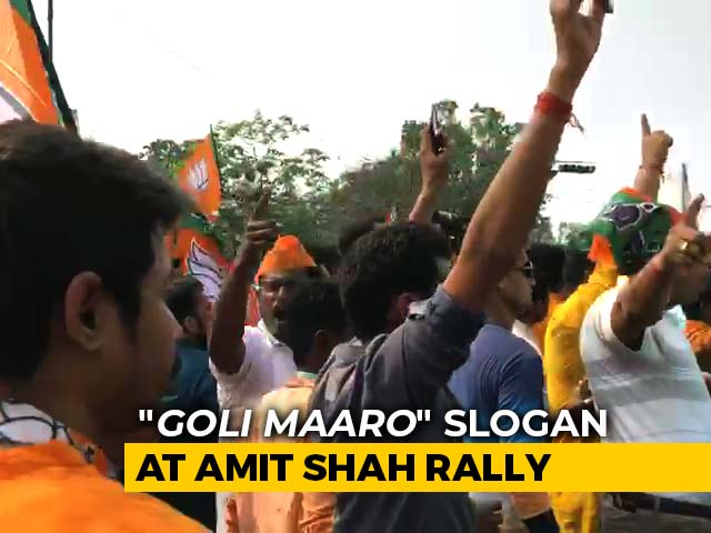 "Video : In Heart Of Kolkata, ""<i>Goli Maaro</i>"" Slogan At Amit Shah Rally"