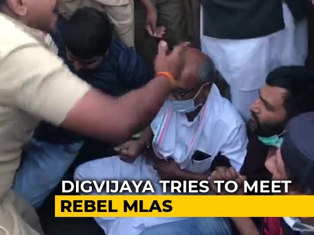 Video : Digvijaya Singh Dragged By Bengaluru Cops, Tried To Meet Rebels
