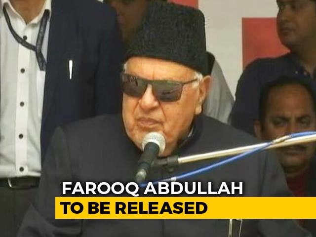 Video : Farooq Abdullah To Be Released After Over 7 Months In Detention