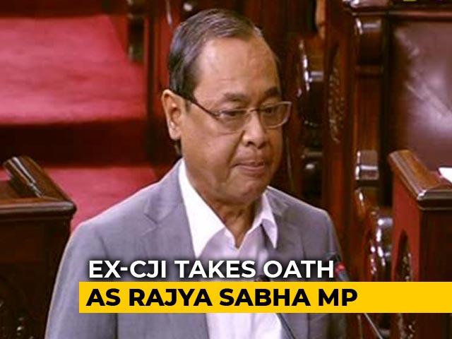 "Video : Ex-Chief Justice Ranjan Gogoi Sworn in Amid ""Shame"" Chants In Rajya Sabha"