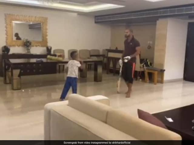 """Shikhar Dhawan Locks Horns With Son Zoravar In """"Quarantine Premier League"""". Watch"""