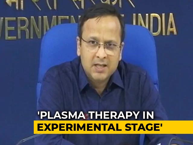 """Video : """"No Evidence To Support Plasma Therapy As COVID-19 Treatment"""": Government"""