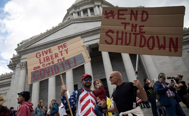 2,500 Protest At Washington State Capitol Against Stay-At-Home Order