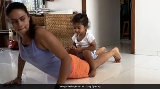 Gul Panag's Son Nihal Adorably Interrupts Her During Her 'Quick' Workout Session. See Pics