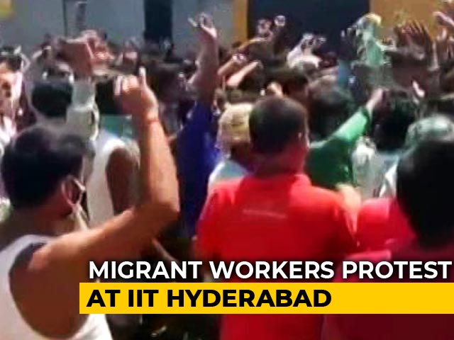 Video : Migrant Workers Attack Employers, Cops At IIT-Hyderabad, Demand Wages