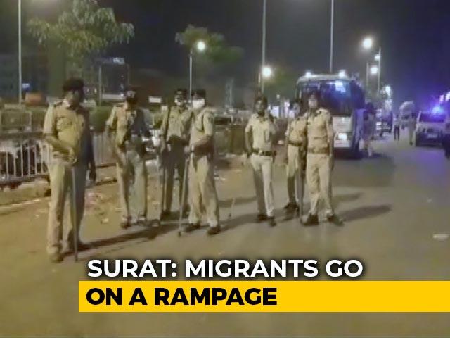 Video : Migrants Seeking To Go Home Amid Lockdown Set Vehicles On Fire In Gujarat
