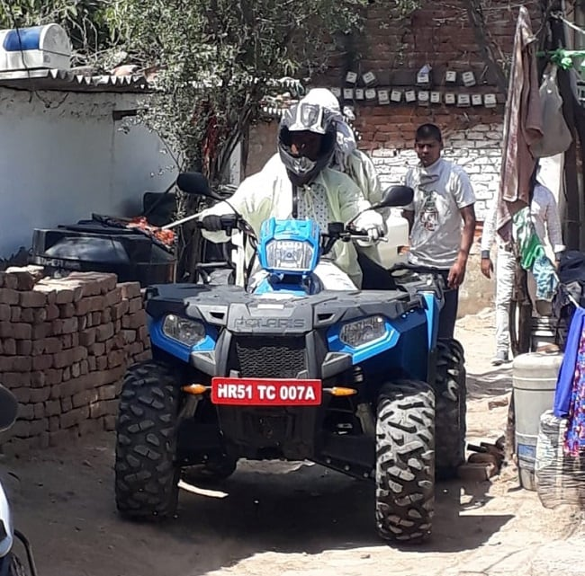 The Polaris Sportsman 570 tractor on COVID-19 duty in Faridabad.